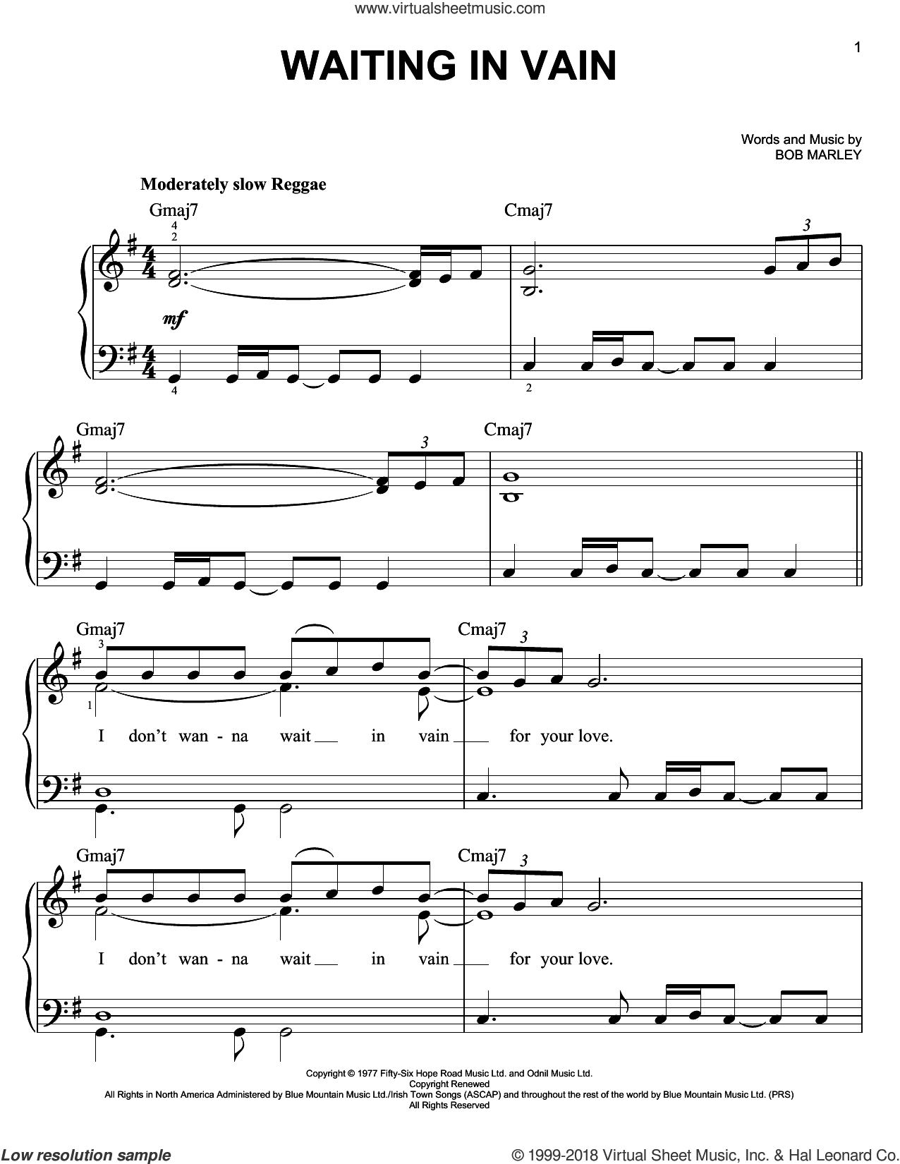 Waiting In Vain sheet music for piano solo by Bob Marley, easy skill level