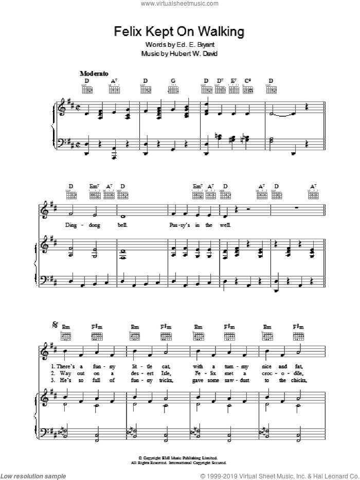 Felix Kept On Walking sheet music for voice, piano or guitar by Ed E. Bryant. Score Image Preview.