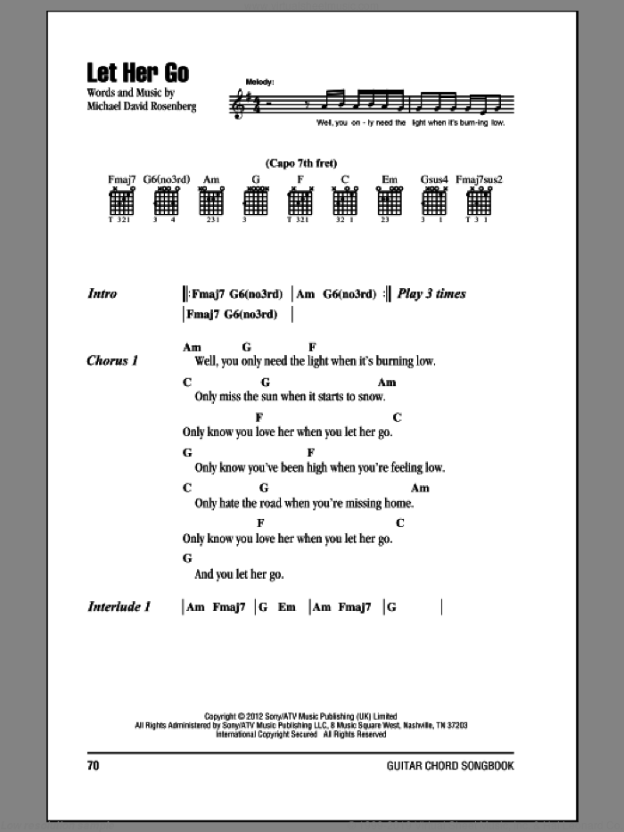 Let Her Go sheet music for guitar (chords) by Michael David Rosenberg and Passenger. Score Image Preview.