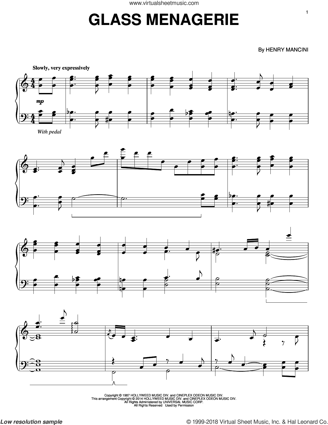 Glass Menagerie sheet music for piano solo by Henry Mancini, intermediate skill level