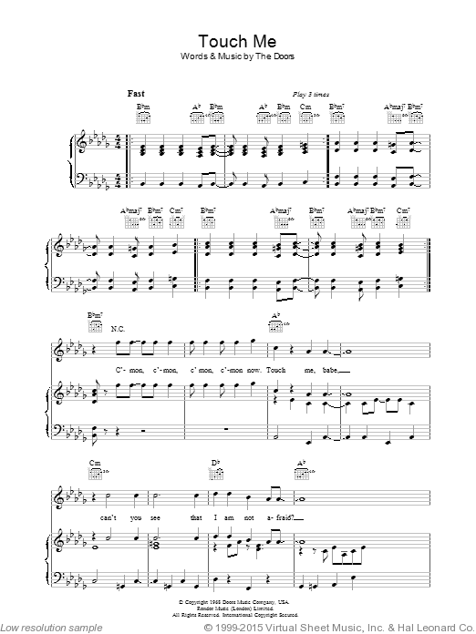 Touch Me sheet music for voice, piano or guitar by The Doors