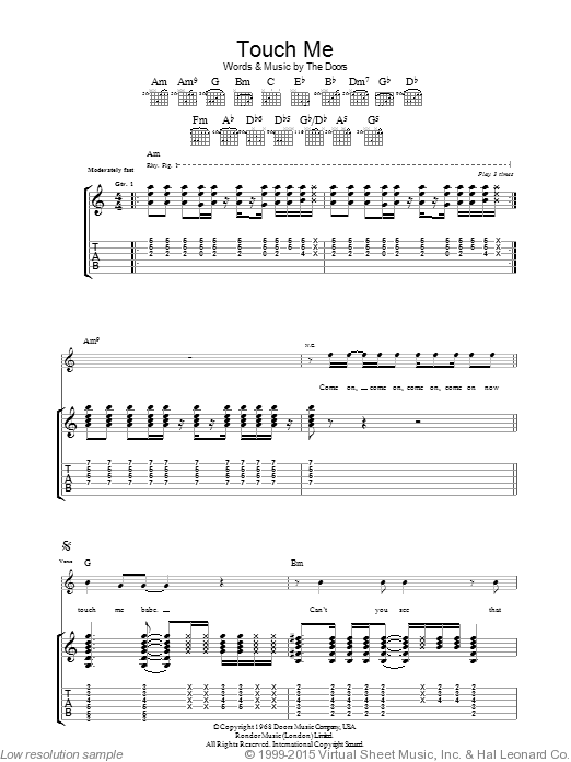 Touch Me sheet music for guitar (tablature) by The Doors