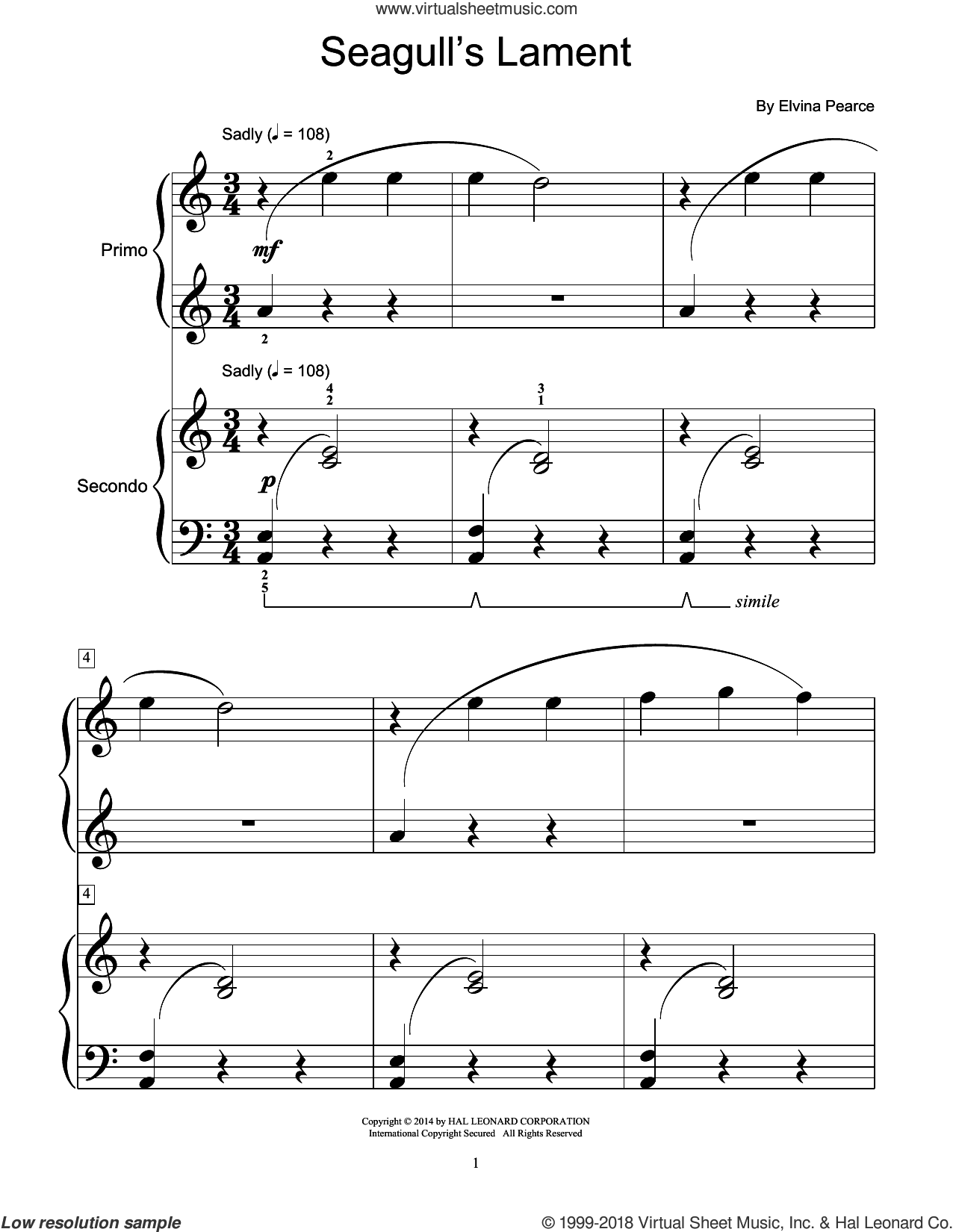 Seagull's Lament sheet music for piano four hands by Elvina Pearce, classical score, intermediate skill level