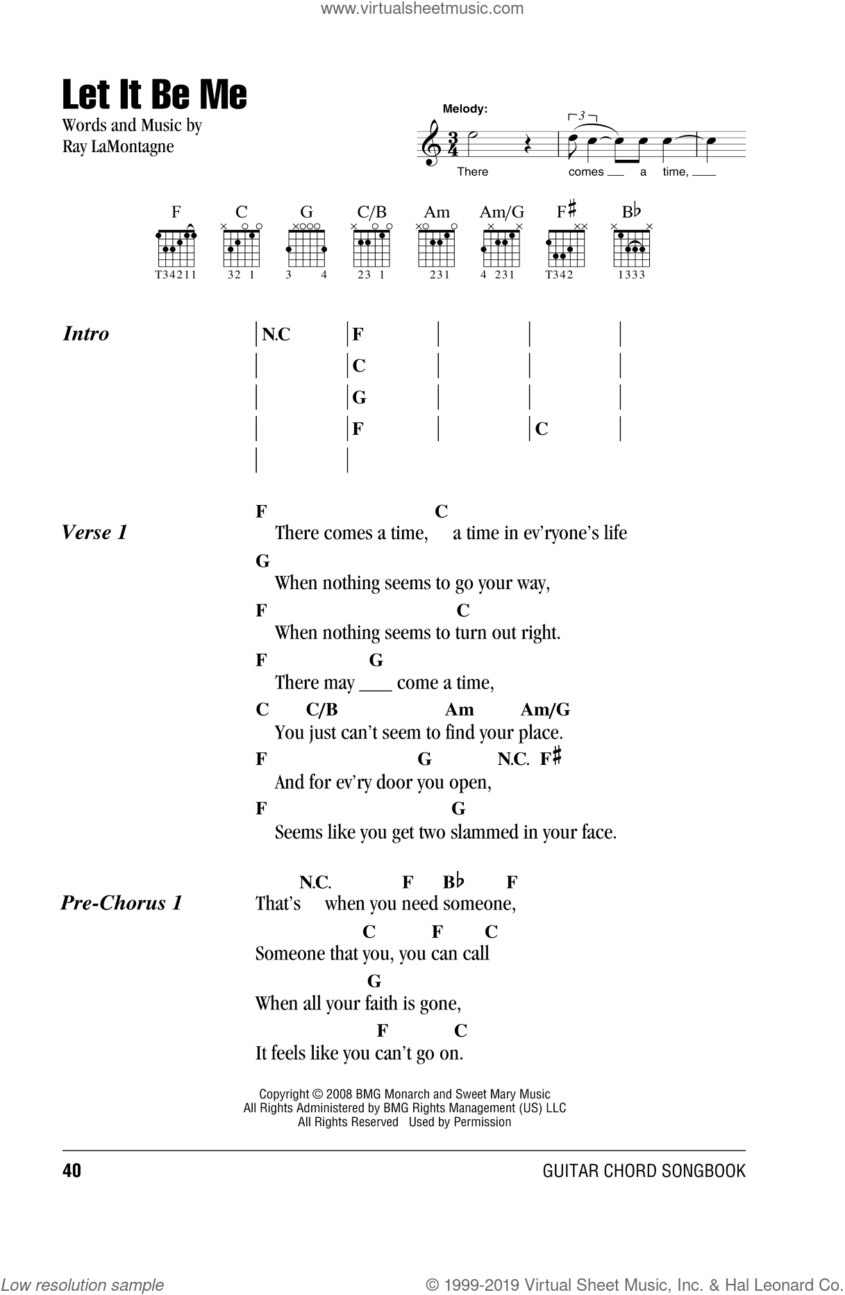 Lamontagne Let It Be Me Sheet Music For Guitar Chords Pdf