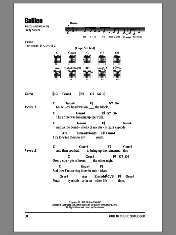 Girls Galileo Sheet Music For Guitar Chords Pdf