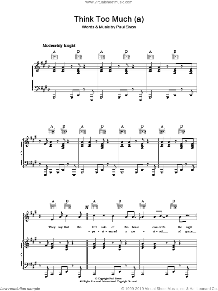 Think Too Much (a) sheet music for voice, piano or guitar by Paul Simon, intermediate