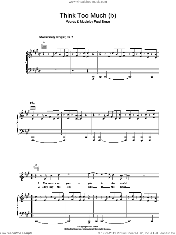 Think Too Much (b) sheet music for voice, piano or guitar by Paul Simon. Score Image Preview.