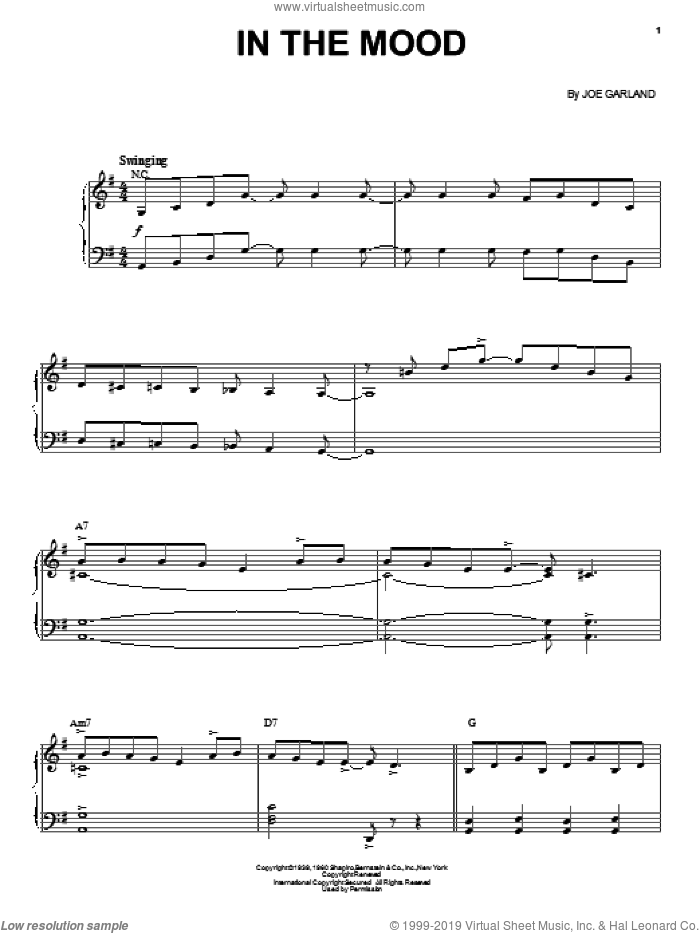 In The Mood sheet music for voice, piano or guitar by Joe Garland and Glenn Miller & His Orchestra. Score Image Preview.