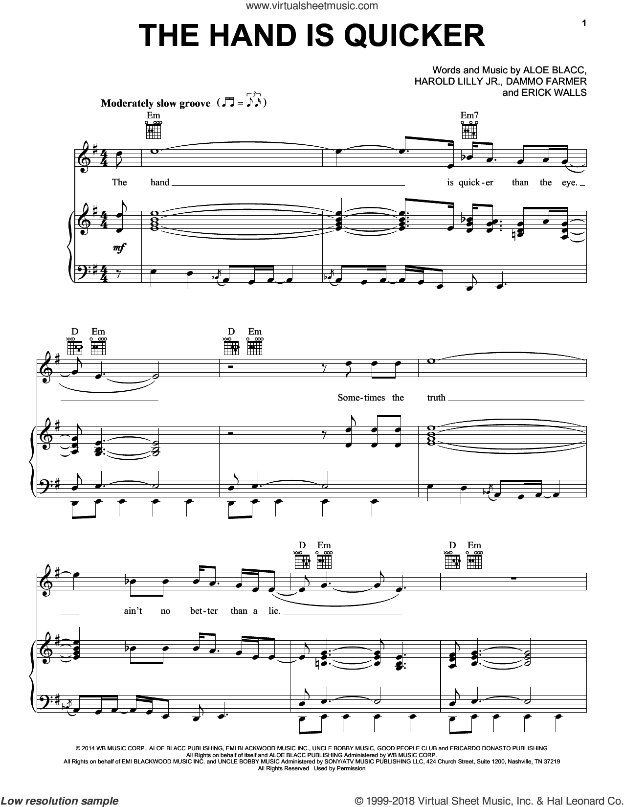 The Hand Is Quicker sheet music for voice, piano or guitar by Harold Lilly, Jr. and Aloe Blacc. Score Image Preview.