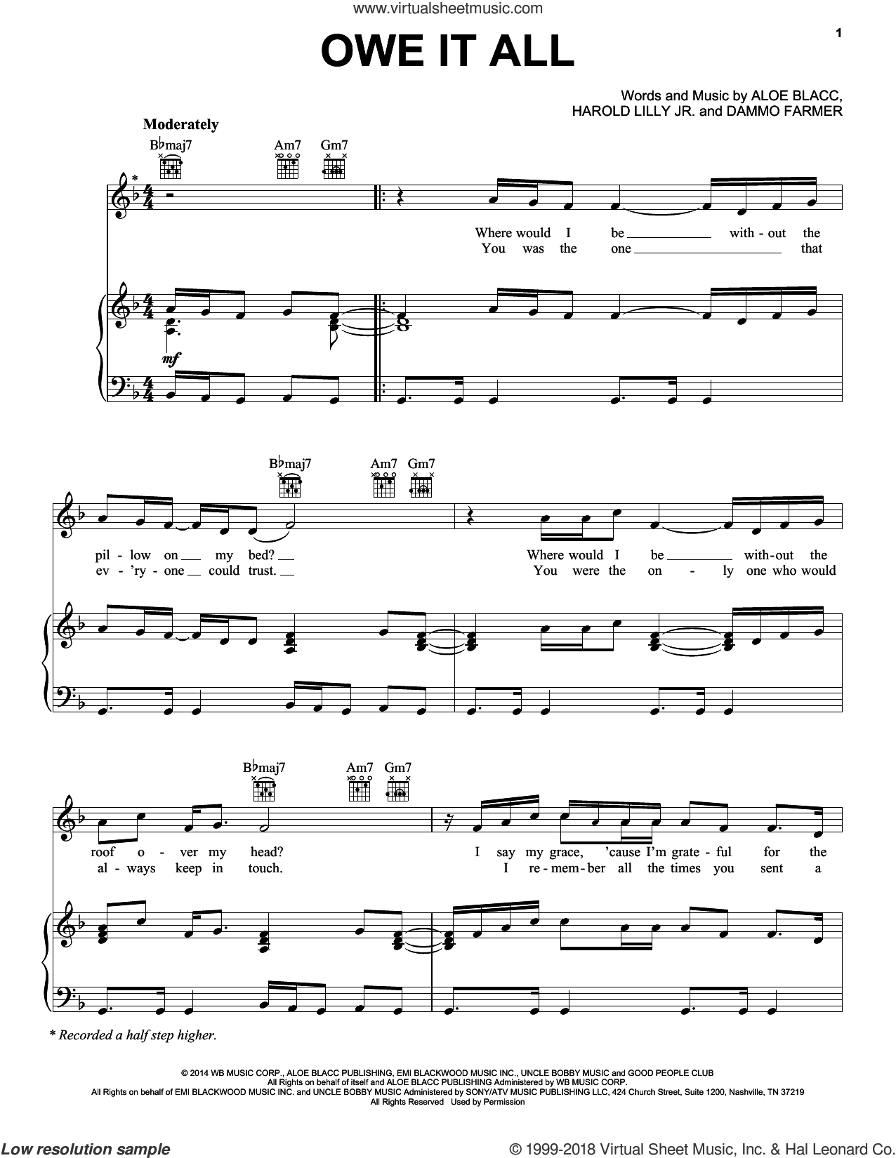 Owe It All sheet music for voice, piano or guitar by Harold Lilly, Jr. and Aloe Blacc. Score Image Preview.