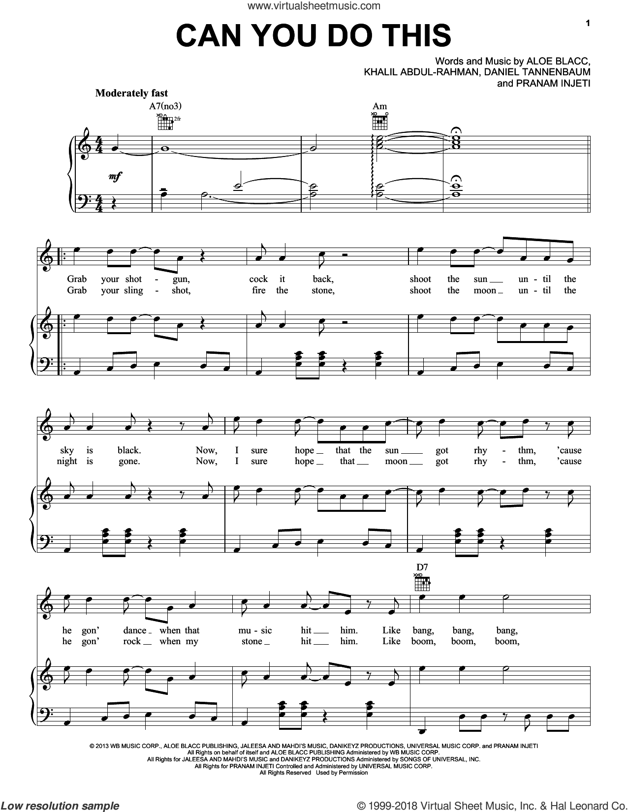 Can You Do This sheet music for voice, piano or guitar by Aloe Blacc, Daniel Tannenbaum, Khalil Abdul-Rahman and Pranam Injeti, intermediate skill level