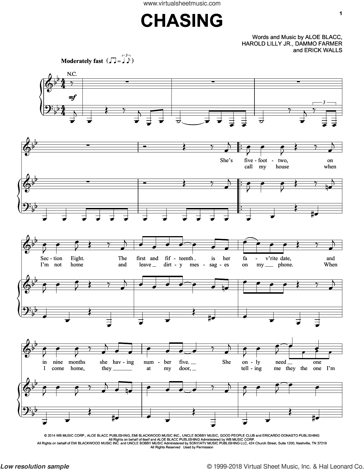 Chasing sheet music for voice, piano or guitar by Aloe Blacc and Harold Lilly, Jr.. Score Image Preview.