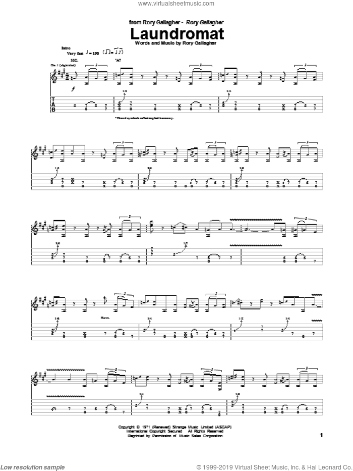 Laundromat sheet music for guitar (tablature) by Rory Gallagher, intermediate skill level