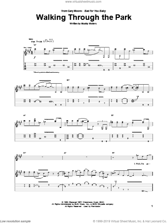 Walking Through The Park sheet music for guitar (tablature) by Gary Moore and Muddy Waters, intermediate skill level