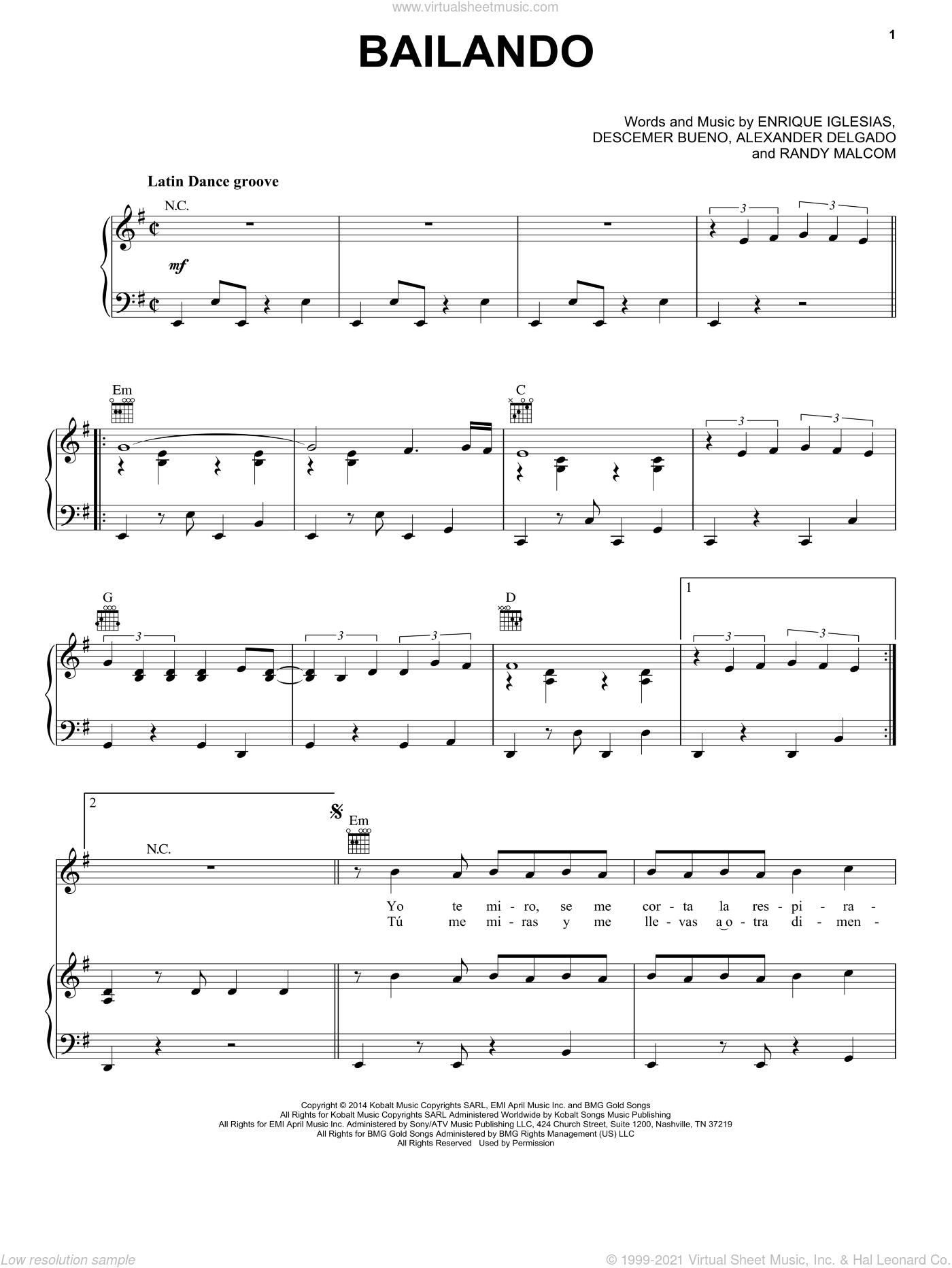 Bailando sheet music for voice, piano or guitar by Enrique Iglesias Featuring Descemer Bueno and Gente de Zona, Alexander Delgado, Descemer Bueno, Enrique Iglesias and Randy Malcom Martinez, intermediate skill level