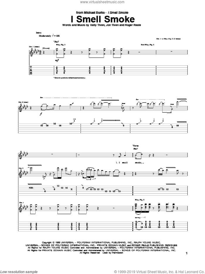I Smell Smoke sheet music for guitar (tablature) by Sally Tiven and Roger Reale. Score Image Preview.