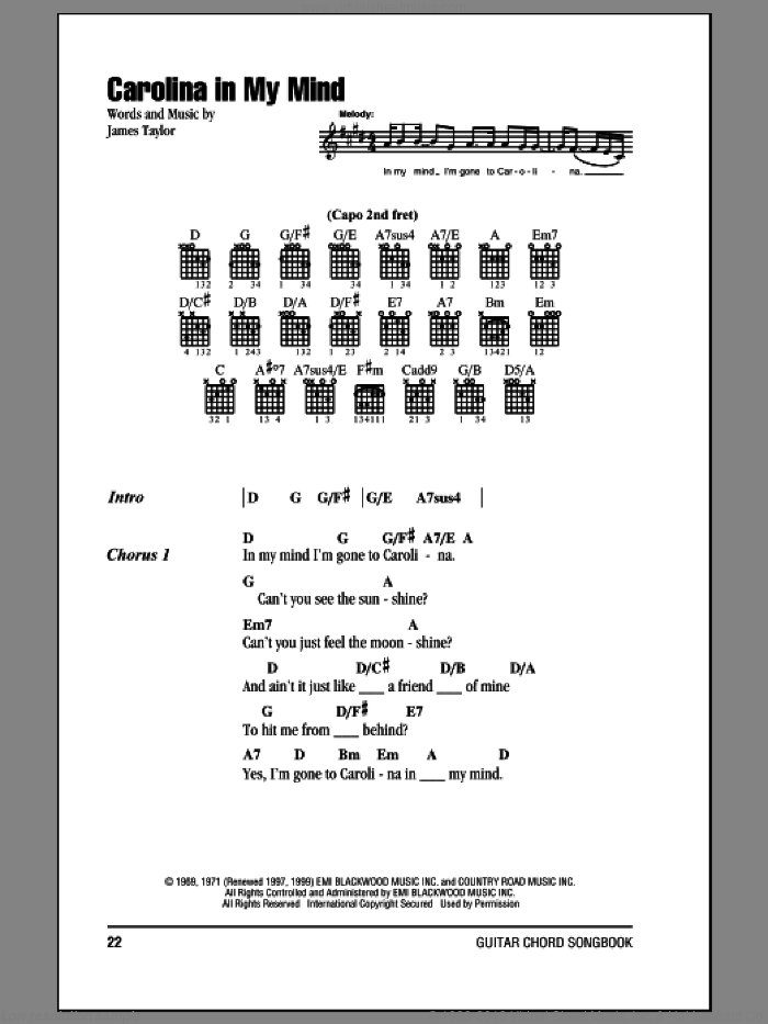 Carolina In My Mind sheet music for guitar (chords) by James Taylor and Crystal Mansion, intermediate. Score Image Preview.