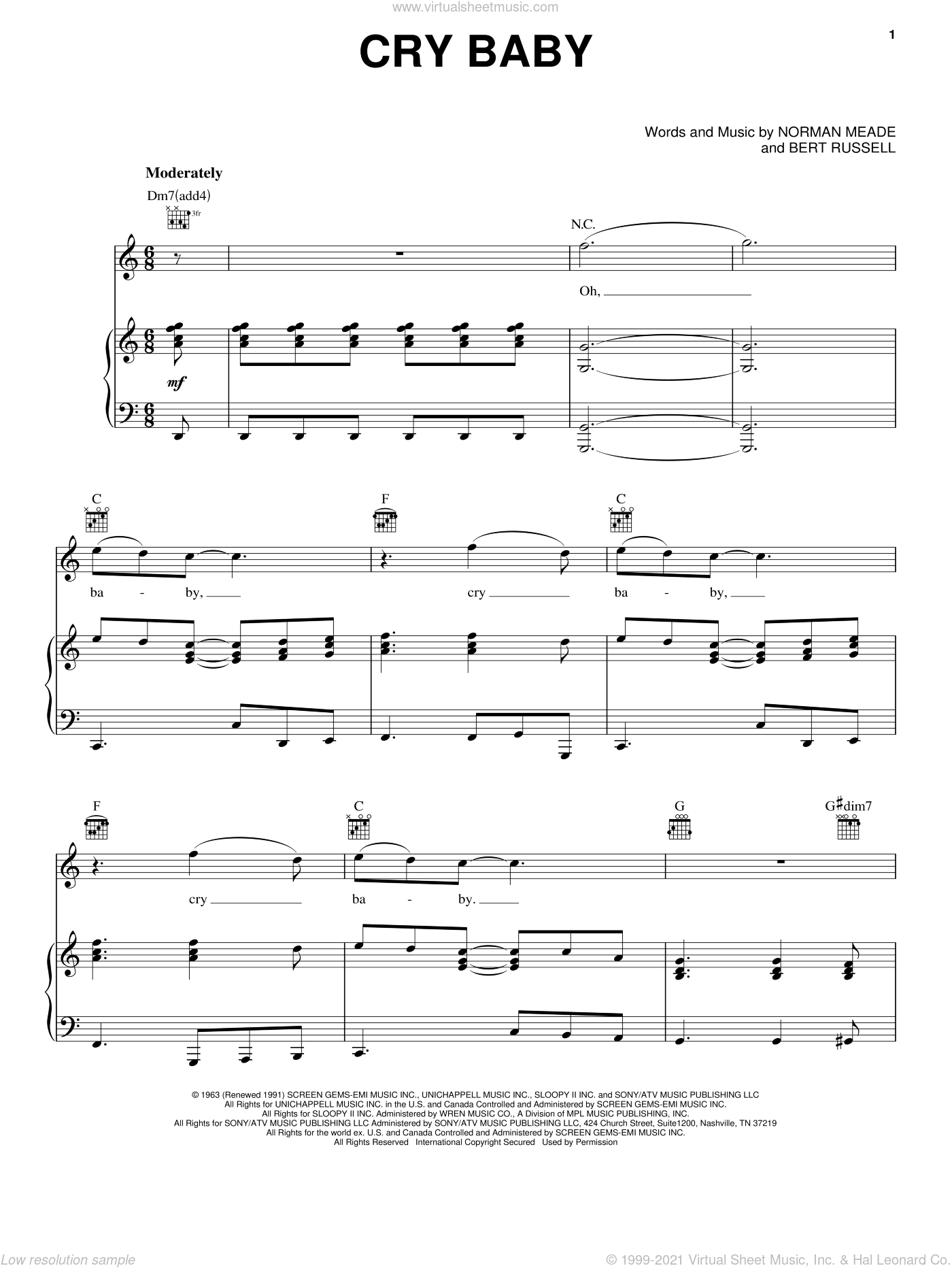 Cry Baby sheet music for voice, piano or guitar by Janis Joplin, Garnet Mimms & The Enchanters, Bert Russell and Norman Meade, intermediate skill level