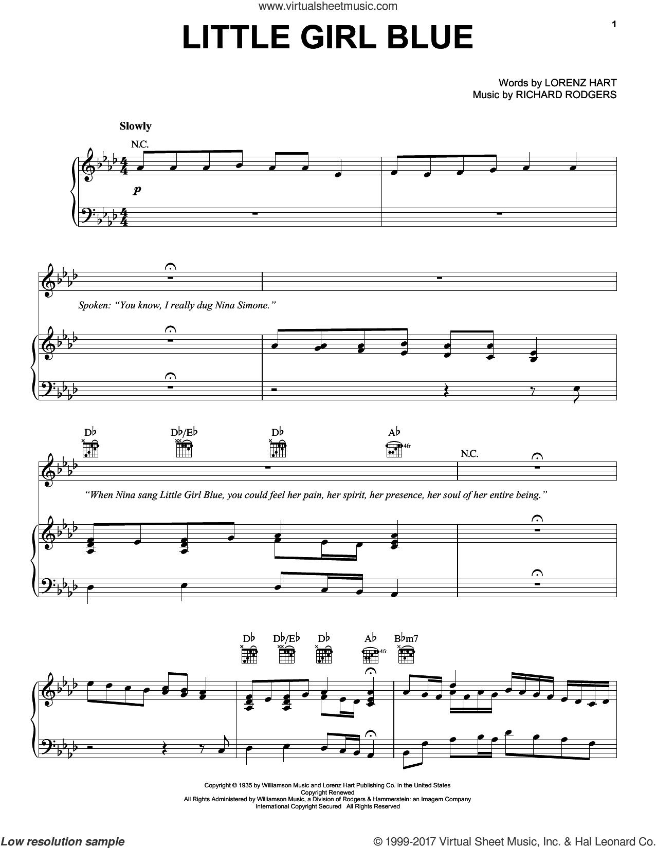 Little Girl Blue sheet music for voice, piano or guitar by Janis Joplin, Lorenz Hart and Richard Rodgers, intermediate. Score Image Preview.