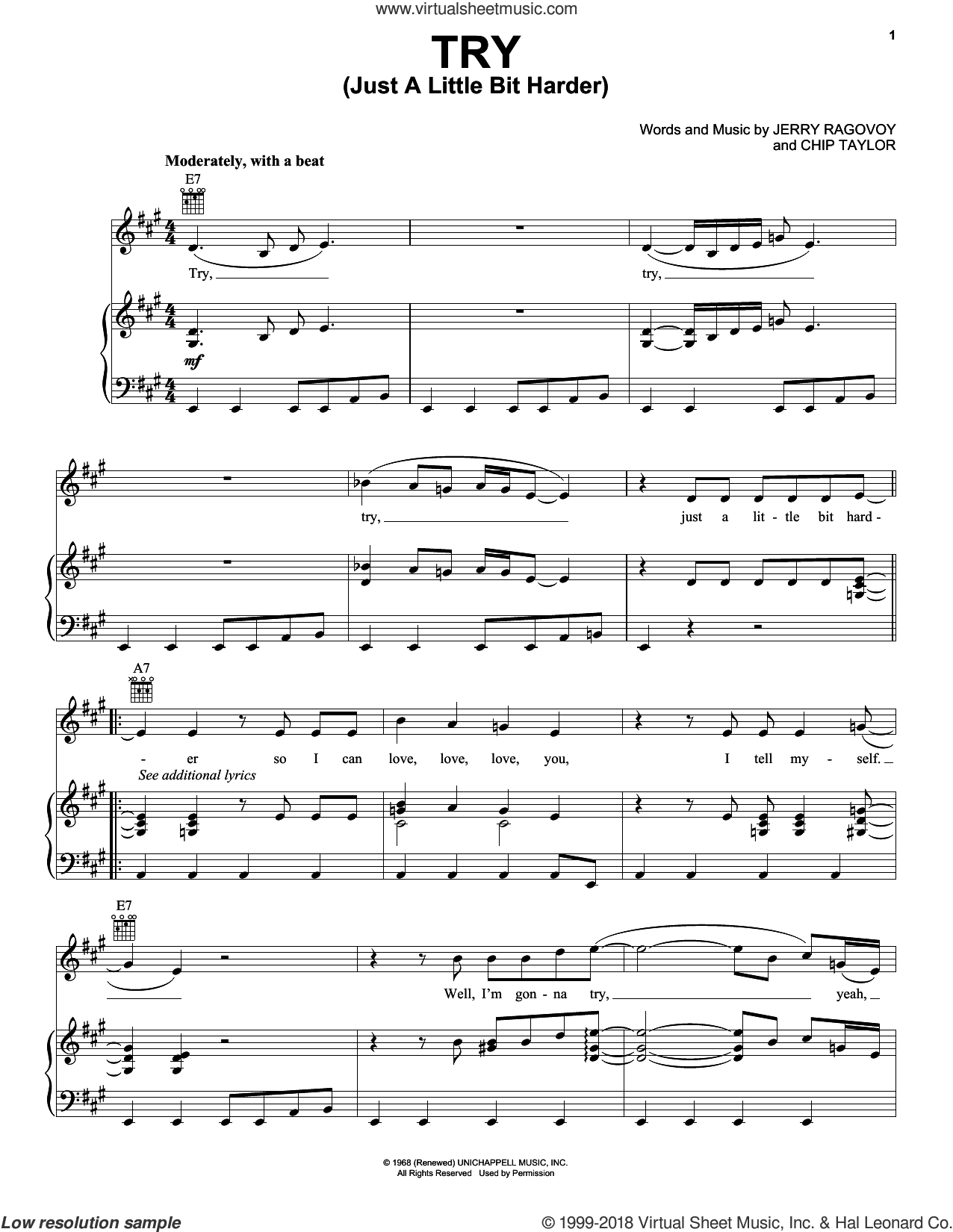 Try (Just A Little Bit Harder) sheet music for voice, piano or guitar by Jerry Ragovoy, Janis Joplin and Chip Taylor. Score Image Preview.