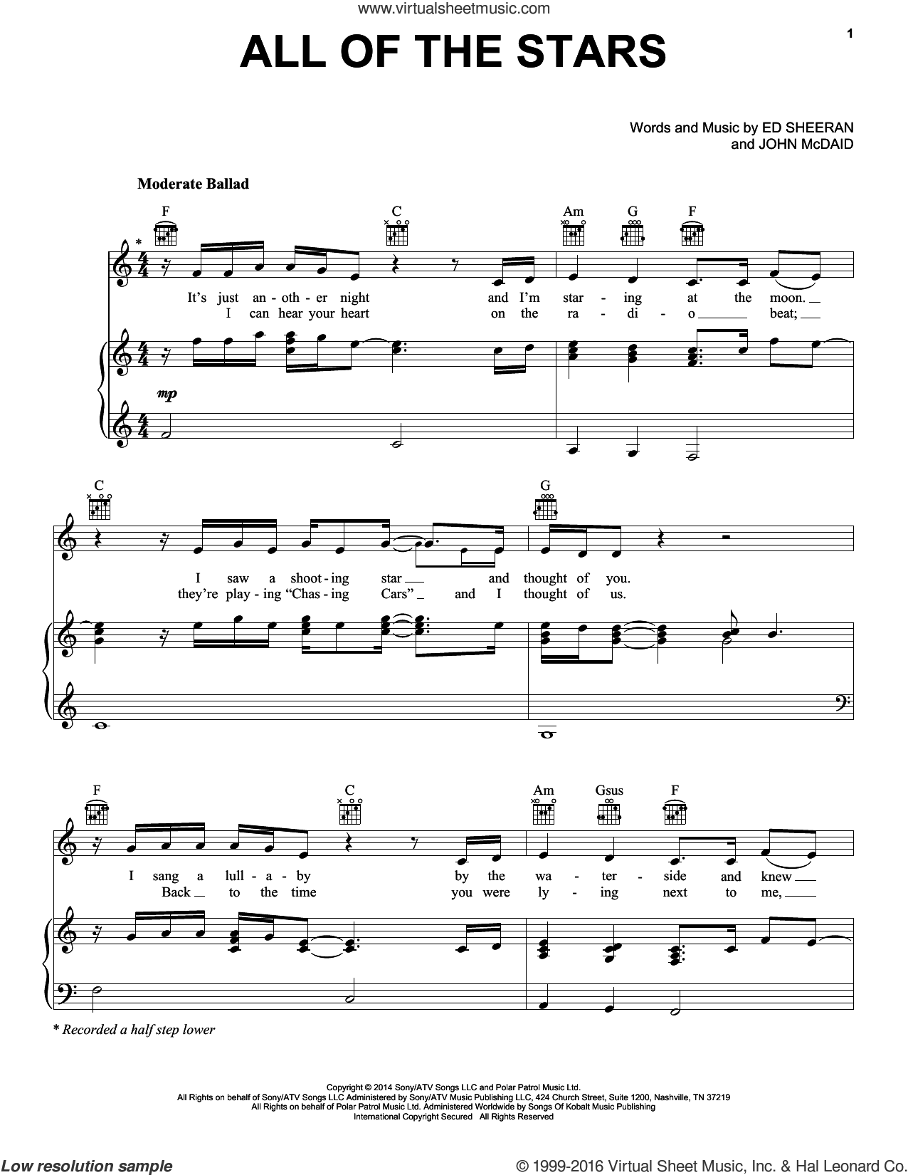 All Of The Stars sheet music for voice, piano or guitar by Ed Sheeran and John McDaid, intermediate skill level
