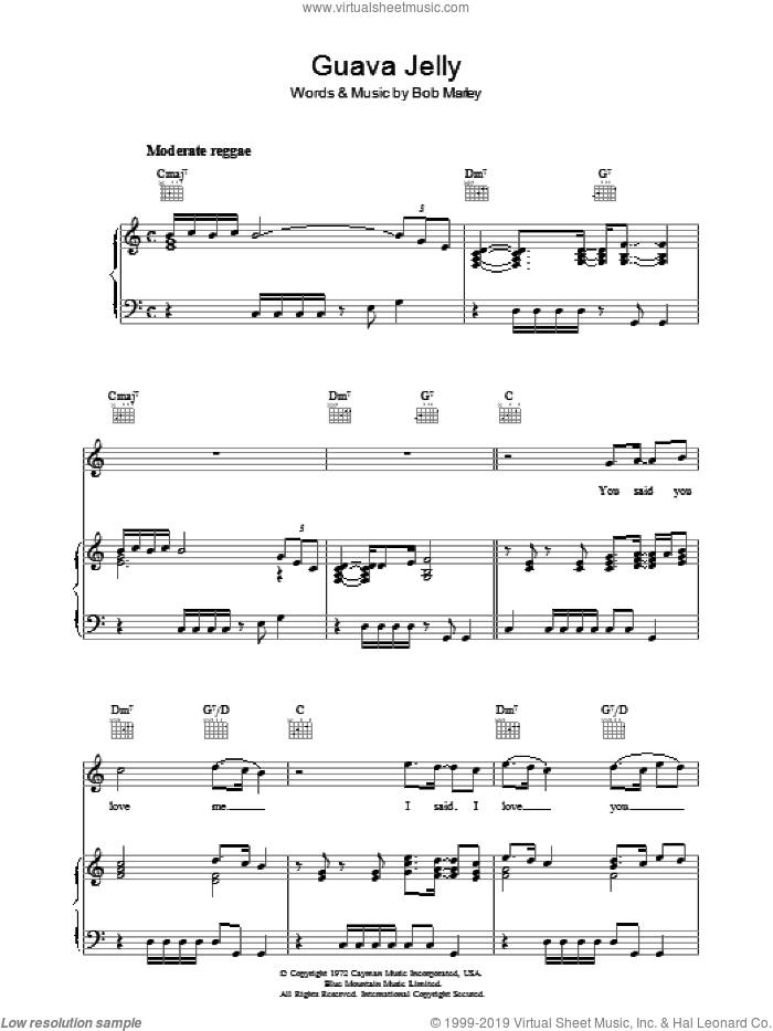 Guava Jelly sheet music for voice, piano or guitar by Bob Marley, intermediate skill level