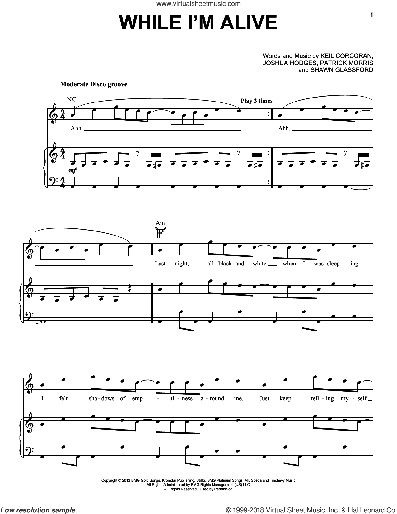 While I'm Alive sheet music for voice, piano or guitar by Strfkr, Joshua Hodges, Keil Corcoran, Patrick Morris and Shawn Glassford, intermediate. Score Image Preview.
