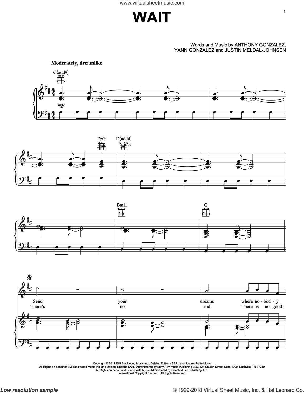 Wait sheet music for voice, piano or guitar by M83, Anthony Gonzalez, Justin Meldal-Johnsen and Yann Gonzalez, intermediate skill level