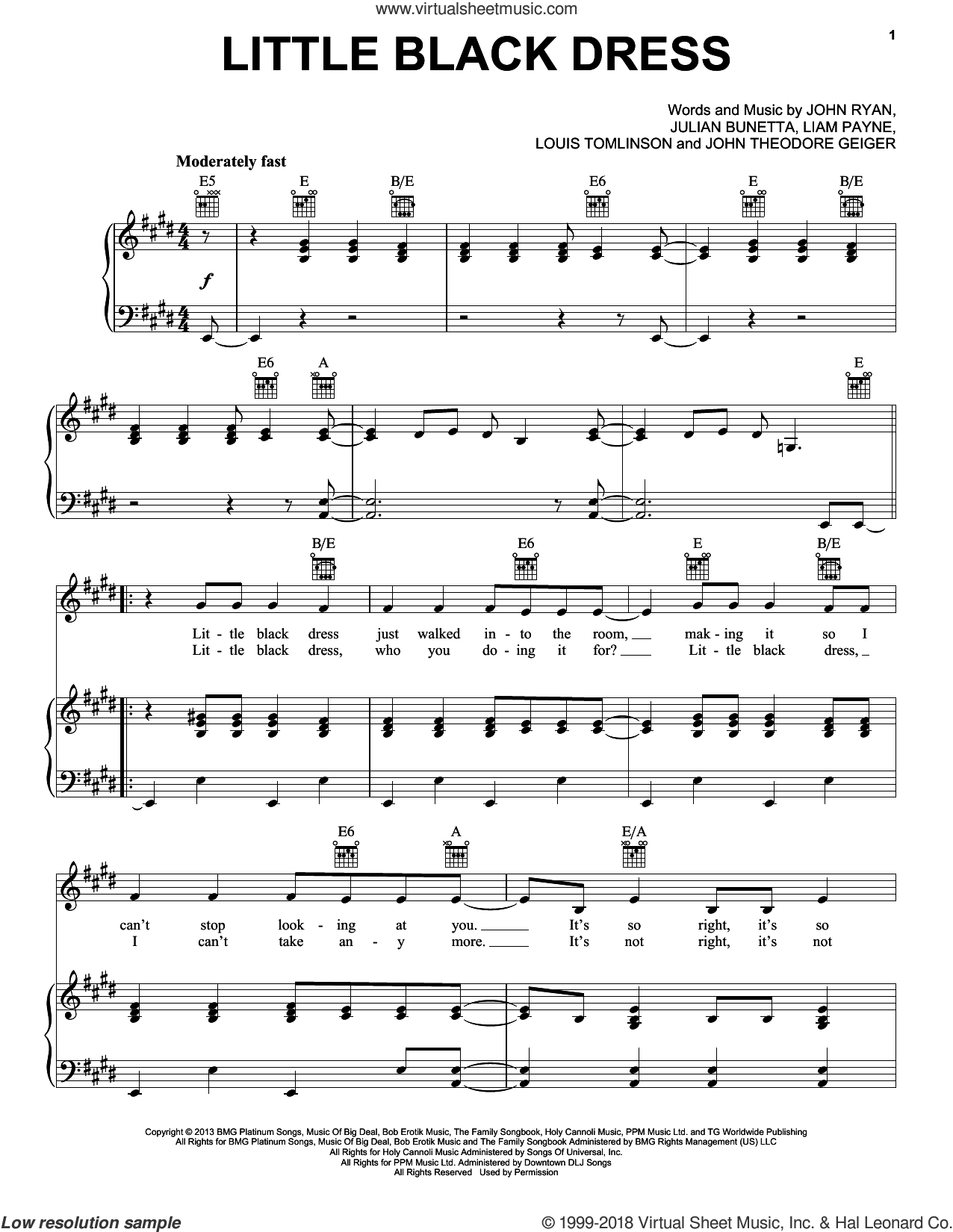 Little Black Dress sheet music for voice, piano or guitar by One Direction, John Ryan, John Theodore Geiger, Julian Bunetta, Liam Payne and Louis Tomlinson, intermediate skill level