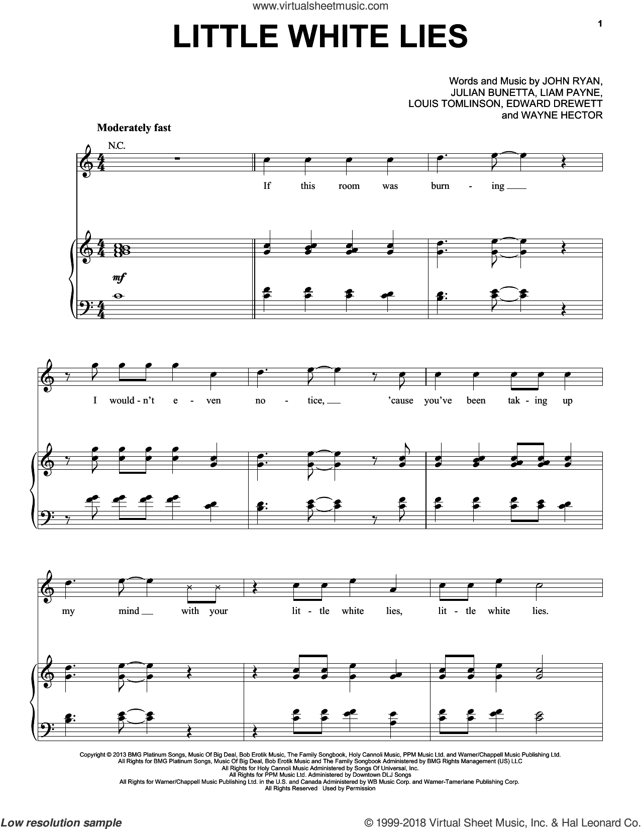 Little White Lies sheet music for voice, piano or guitar by One Direction, Edward Drewett, John Ryan, Julian Bunetta, Liam Payne, Louis Tomlinson and Wayne Hector, intermediate skill level