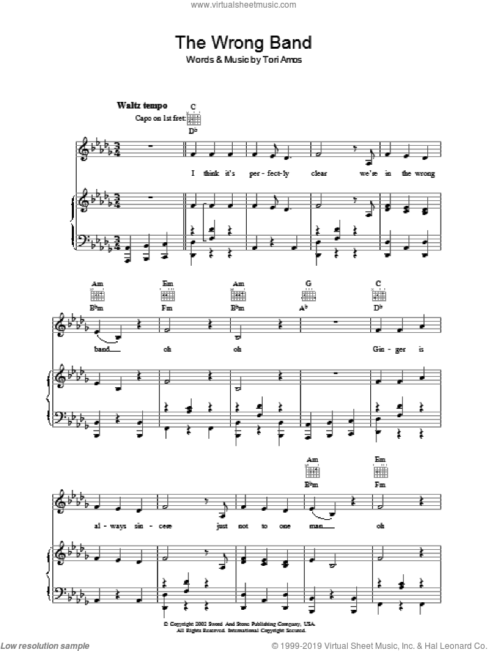 The Wrong Band sheet music for voice, piano or guitar by Tori Amos. Score Image Preview.