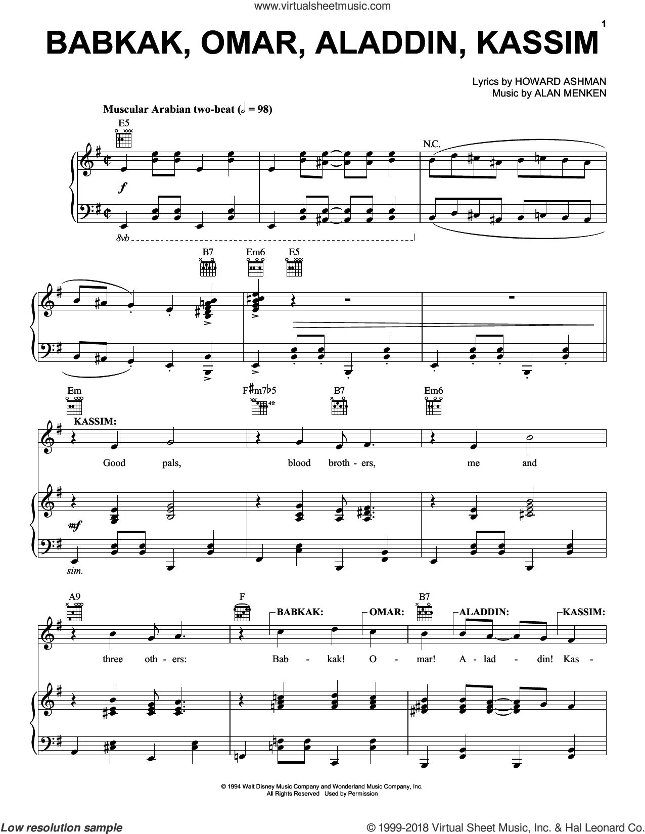 Babkak, Omar, Aladdin, Kassim (from Aladdin: The Broadway Musical) sheet music for voice, piano or guitar by Alan Menken and Howard Ashman, intermediate skill level