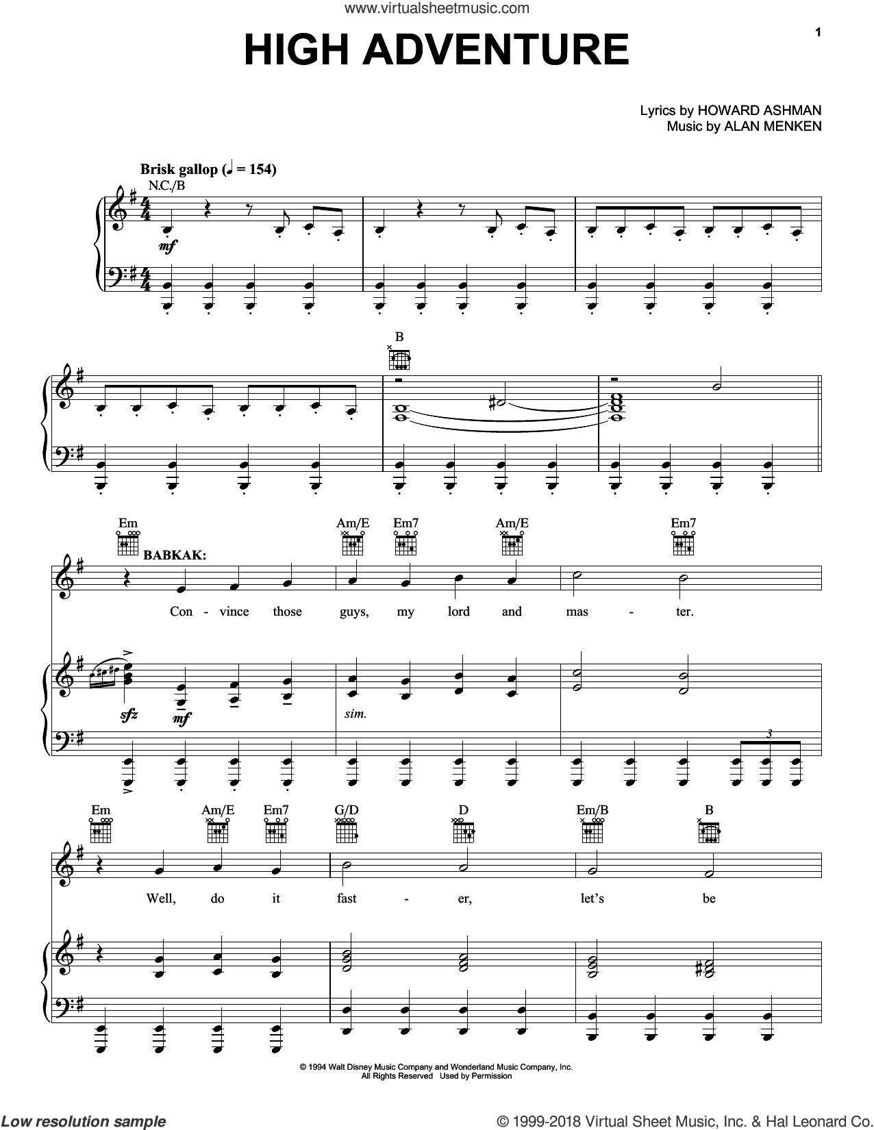 High Adventure (from Aladdin: The Broadway Musical) sheet music for voice, piano or guitar by Alan Menken and Howard Ashman, intermediate skill level