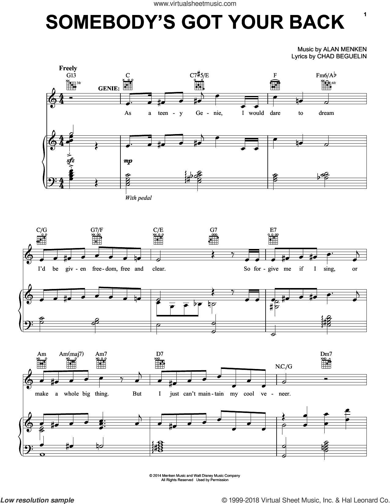 Somebody's Got Your Back sheet music for voice, piano or guitar by Alan Menken and Chad Beguelin, intermediate skill level