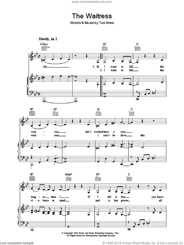 The Waitress sheet music for voice, piano or guitar by Tori Amos, intermediate skill level