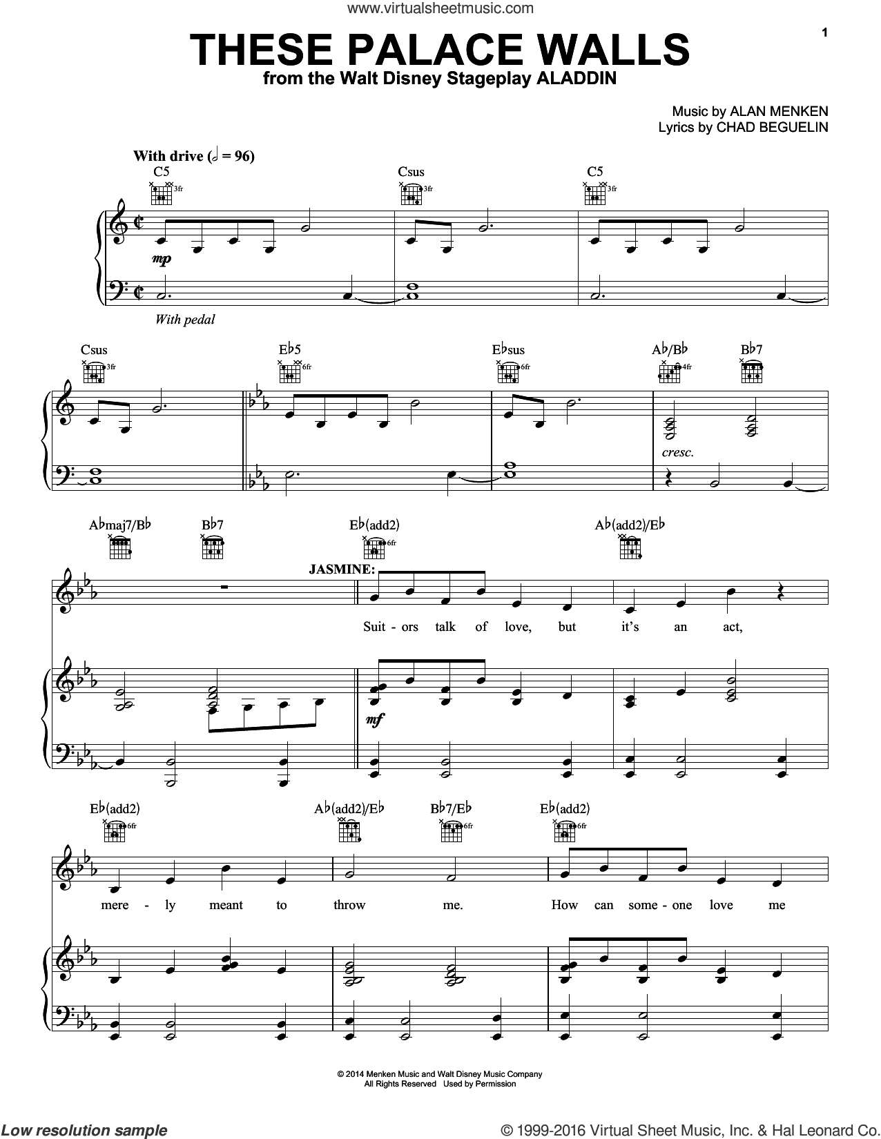 These Palace Walls (from Aladdin: The Broadway Musical) sheet music for voice, piano or guitar by Alan Menken and Chad Beguelin, intermediate skill level