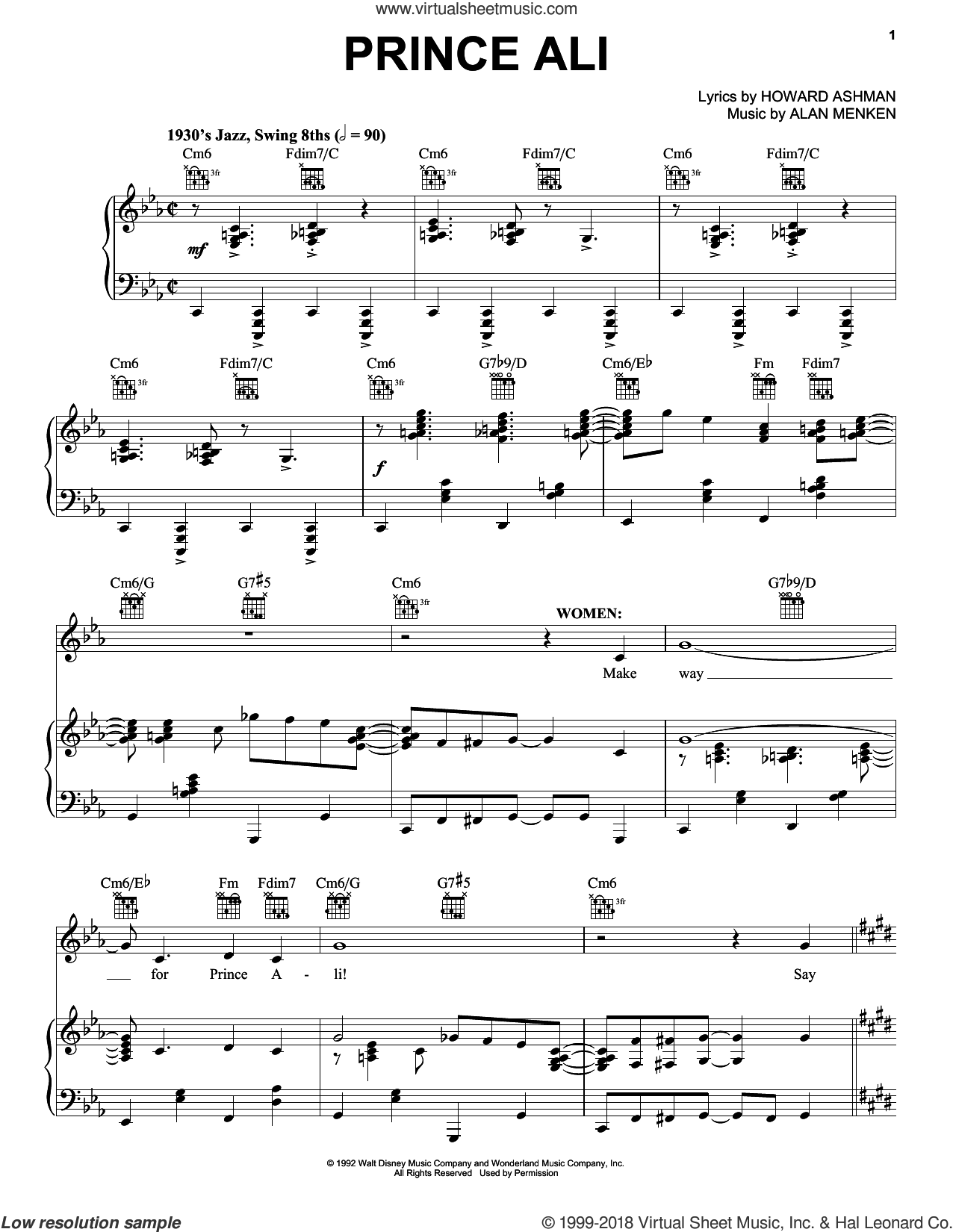 Prince Ali sheet music for voice, piano or guitar by Alan Menken and Howard Ashman, intermediate skill level