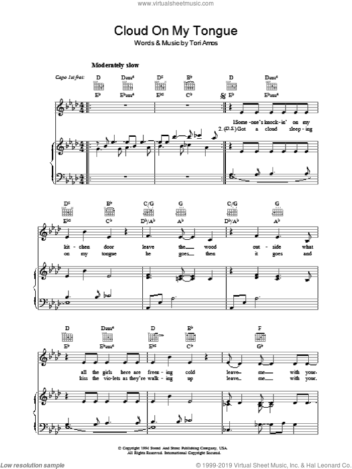 Cloud On My Tongue sheet music for voice, piano or guitar by Tori Amos, intermediate skill level