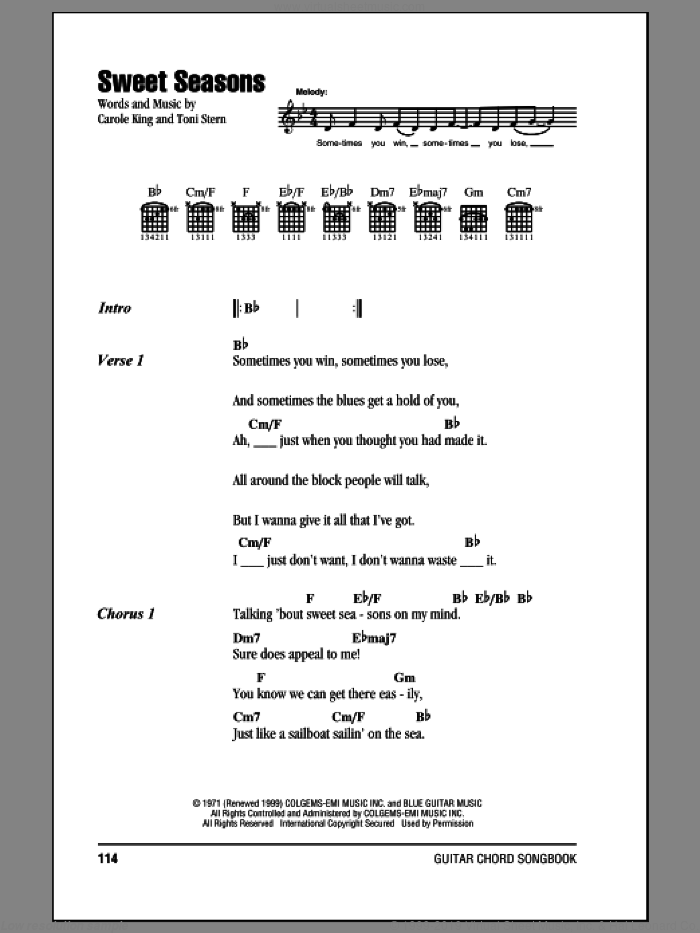 Sweet Seasons sheet music for guitar (chords) by Carole King and Toni Stern, intermediate