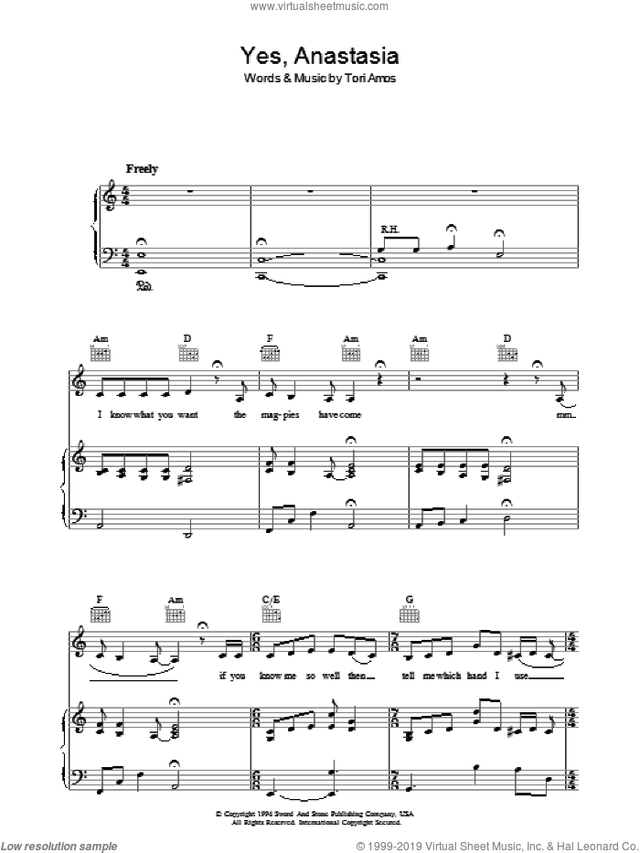 Yes, Anastasia sheet music for voice, piano or guitar by Tori Amos