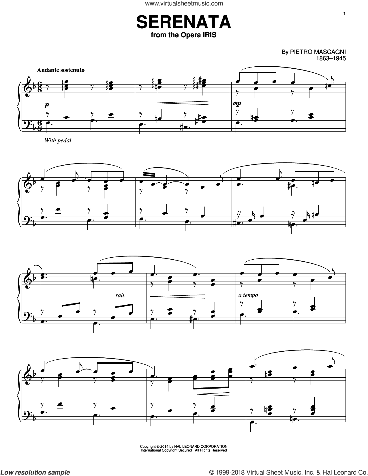 Serenata sheet music for piano solo by Pietro Mascagni, intermediate skill level