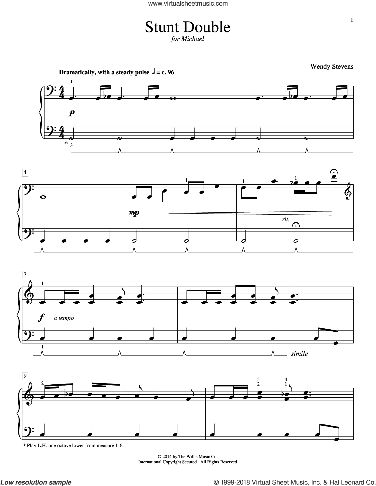 Stunt Double sheet music for piano solo (elementary) by Wendy Stevens, beginner piano (elementary). Score Image Preview.