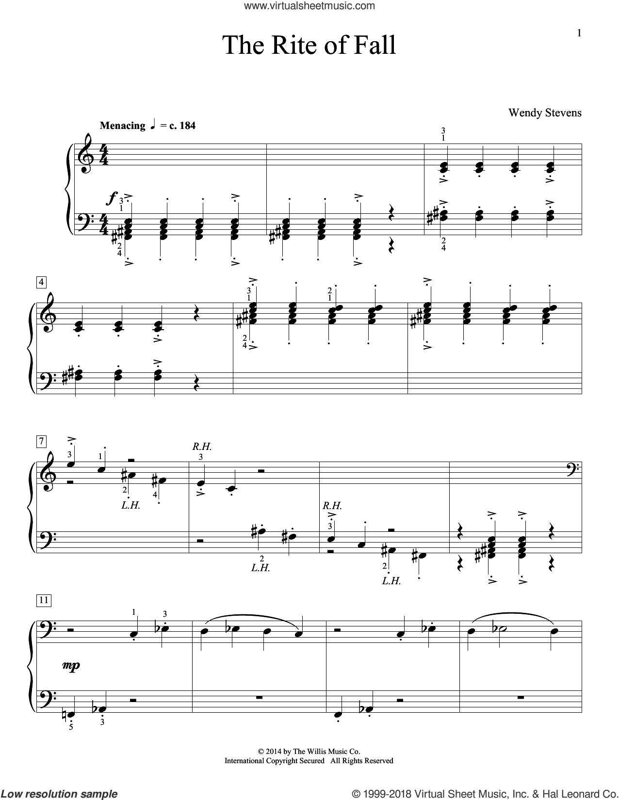 The Rite Of Fall sheet music for piano solo (elementary) by Wendy Stevens, beginner piano (elementary)