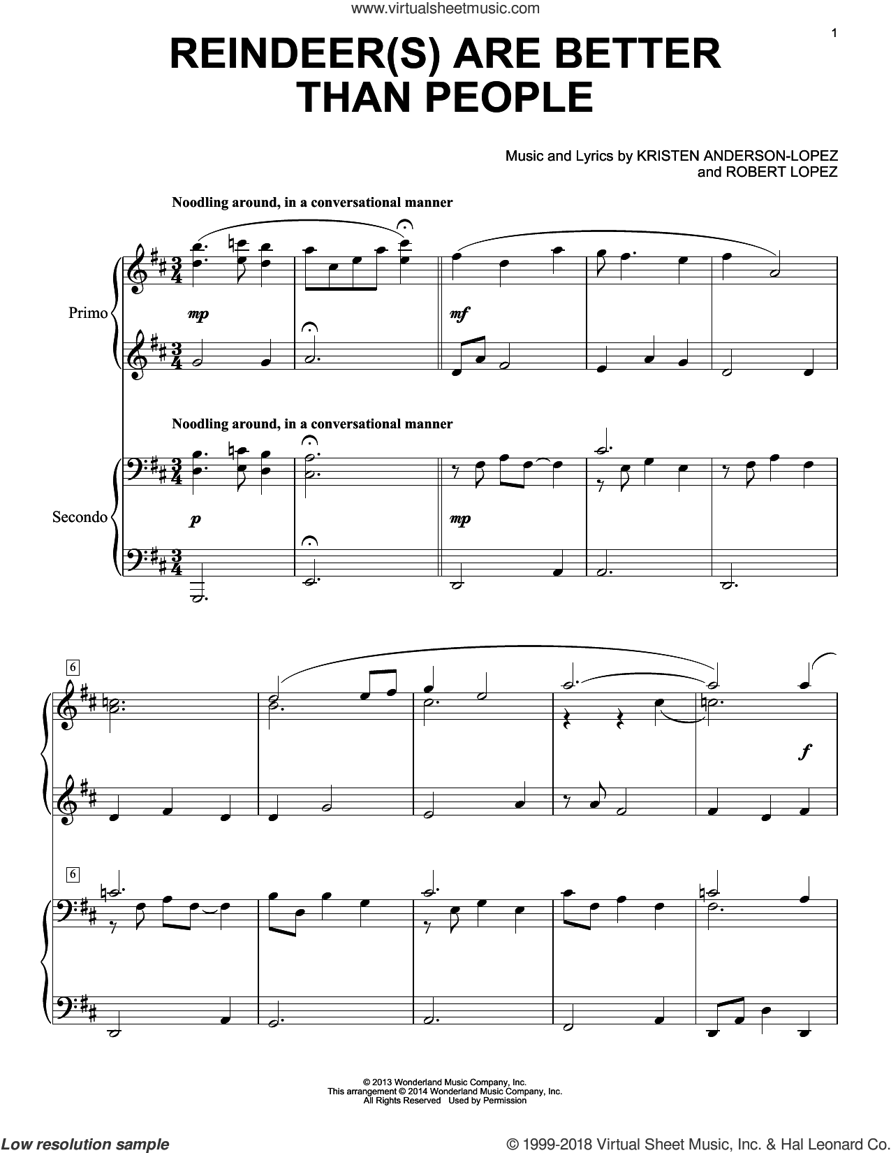 Reindeer(s) Are Better Than People sheet music for piano four hands (duets) by Robert Lopez and Kristen Anderson-Lopez, intermediate piano four hands. Score Image Preview.
