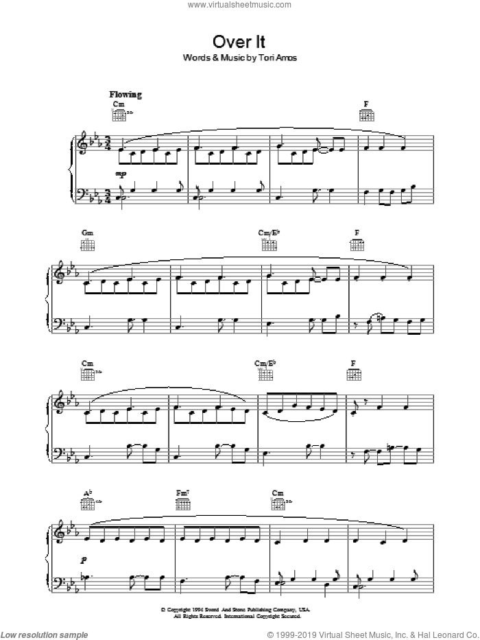 Over It sheet music for voice, piano or guitar by Tori Amos, intermediate skill level