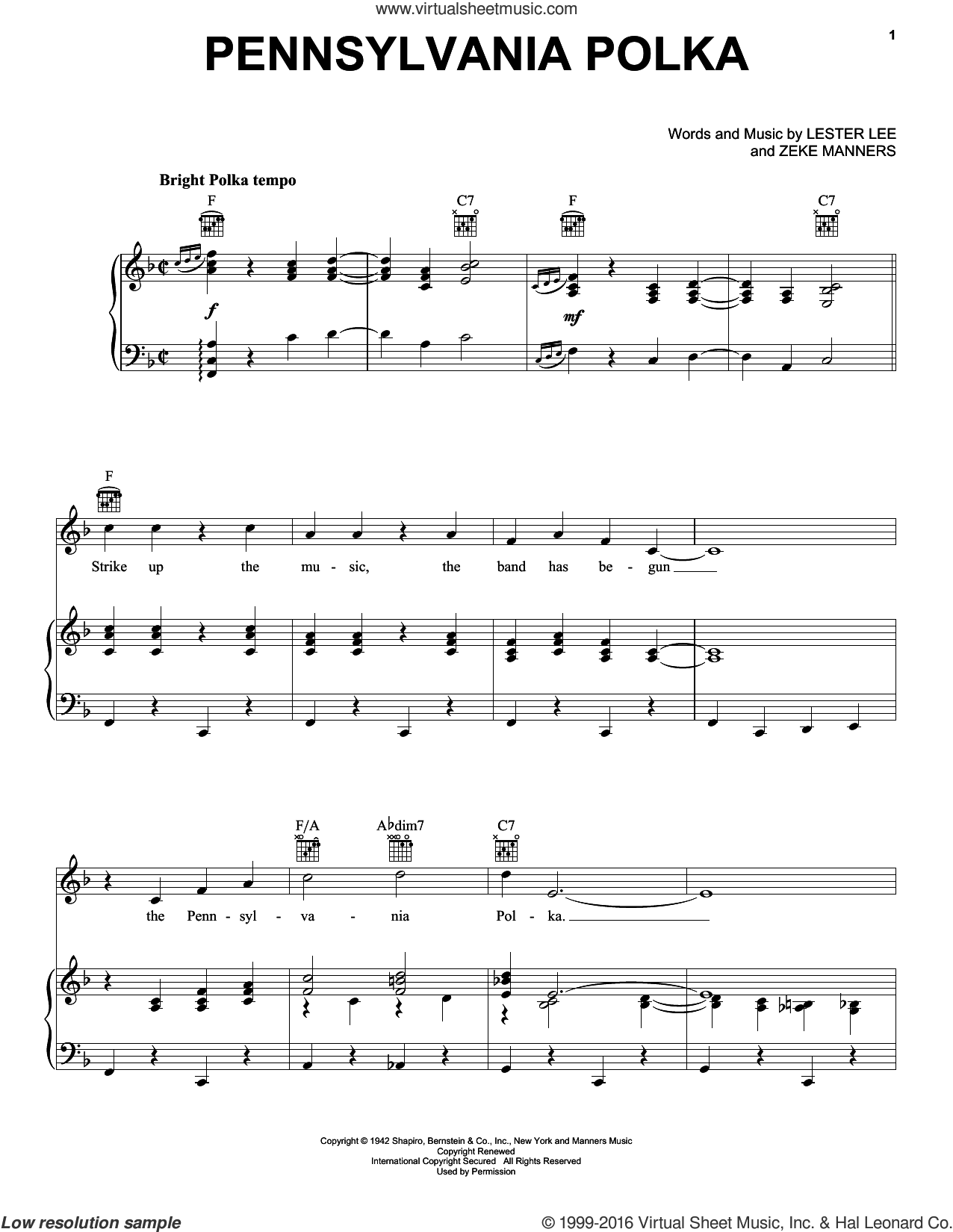 Pennsylvania Polka sheet music for voice, piano or guitar by Zeke Manners and Lester Lee. Score Image Preview.
