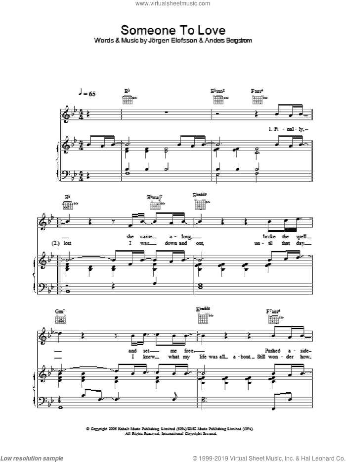 Someone To Love sheet music for voice, piano or guitar by Jorgen Elofsson. Score Image Preview.