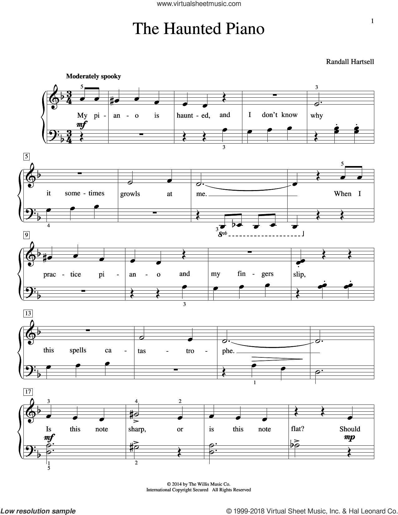 The Haunted Piano sheet music for piano solo (elementary) by Randall Hartsell, beginner piano (elementary)