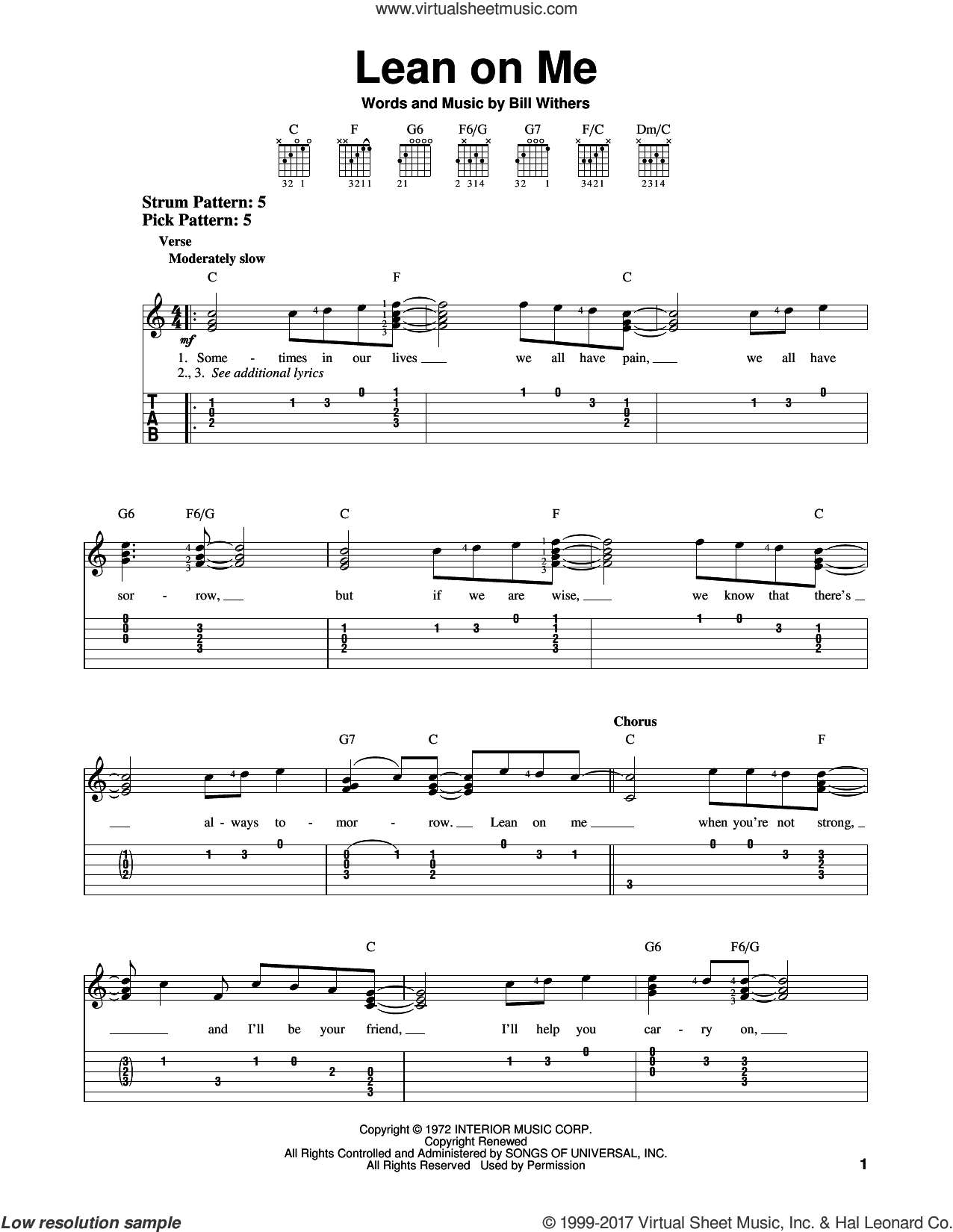 Lean On Me sheet music for guitar solo (easy tablature) by Bill Withers, easy guitar (easy tablature)
