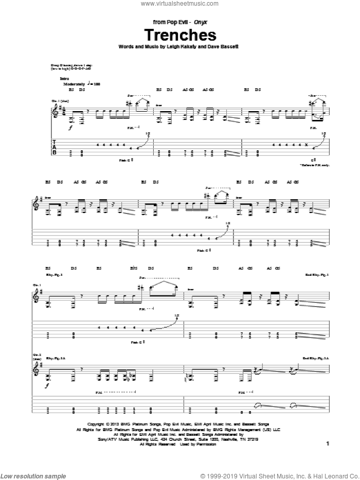 Trenches sheet music for guitar (tablature) by Leigh Kakaty and Dave Bassett. Score Image Preview.